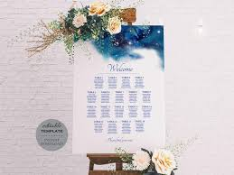 Table Seating Chart Online Celestial Wedding Seating Chart Blue Green Table Seating