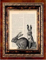 rabbits vine art print antique 1800 s book page by newdayprints etsy love anything that reminds me of watership down great rabbit