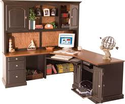 image of l shaped desk office with hutch