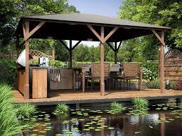 garden gazebo pressure treated wood hot tub shelter roof felt utopia 430 4mx3m