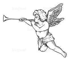 翼 トランペット キューピッド 天使 グラフィックアート 装飾