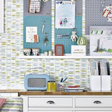 zones bedroom wallpaper:  colourful kitchen iwth pegboard and feature wallpaper david brittain