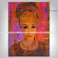 latest decorative handmade modern african woman oil painting of beautiful woman