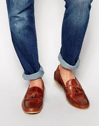 brown leather tassel loafers asos brand tassel loafers in leather