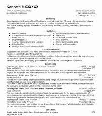 Journeymen Sheet Metal General Foremen, Foremen Resume