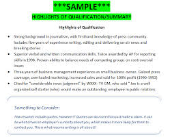Highlights Of Qualifications Resume Musiccityspiritsandcocktail Com