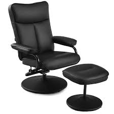pvc leather recliner chair lounge armchair 360 degree swivel with ottoman black 0