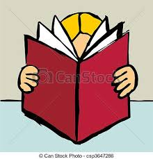person reading a big red book csp3647286