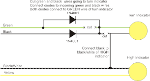 front turn signal help needed custom oem lens or aftermarket signal wiring diagram showing what to cut and the new connections to make you are picking up the ground connection from the adjacent high beam lamp s wiring