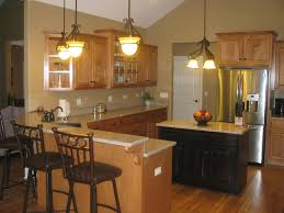 Oak Cabinets Espresso Stained Island Cabinets Light Tan Counter