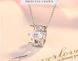 whole creative silver ornaments micro set korean version of the necklace fashion short chain princess crown pendant women pendant necklaces