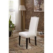 classic faux leather parson chairs with nailhead trim set of 2