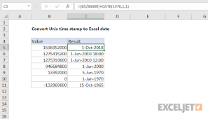 Epoch Times Chart Excel Formula Convert Unix Time Stamp To Excel Date Exceljet