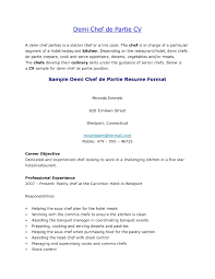 Confortable Resume Sample For Chef De Partie About Resume Format