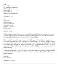 Cover Letter For A Server Cover Letter Server Waitress Resume Samples Restaurant Server Resume