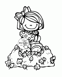 Fall Leaves And Girl Coloring Pages For Kids Autumn Fall