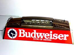 budweiser beer sign lighted billiard pool table light bar clock anheuser busch