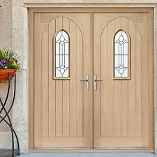 double front door. Westminster Exterior Oak Double Door And Frame Set With Black Leadwork Style Glazing Front