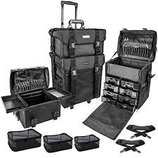 shany cosmetics 2 partment soft black rolling trolley makeup case with free 3 piece
