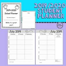 Student Planner 2019 20 Student Agenda Simple Format Ink Saver