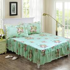 com fadfay shabby green fl bedding 100 cotton princess lace ruffle girls duvet cover set with bedskirt 4pcs cal king size home kitchen