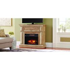 mantel console infrared electric fireplace in natural beige driftwood in 36 in h