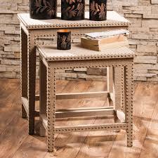 burlap furniture. Western Furniture: Set Of 2 Burlap-Covered Nesting Tables With Studs Lone Star Decor Burlap Furniture E