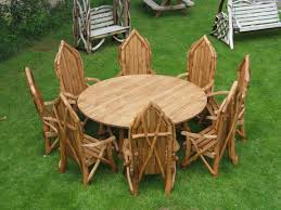 image of rustic garden furniture dining