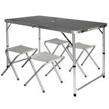Table De Camping Pliable R Glable En Hauteur 120x60x70cm Incl 4