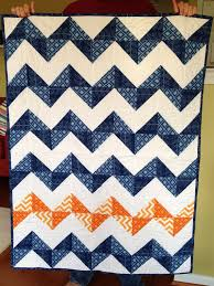 151 best Quilt Ideas images on Pinterest | Quilting projects ... & Modern Baby Boy Chevron Quilt Blue and Orange crib by RedOwlQuilts Adamdwight.com