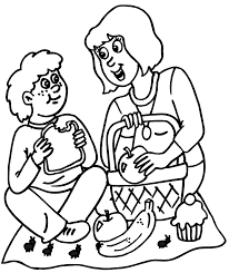 Small Picture Picnic Coloring Page Ant At Mom and Sons Picnic