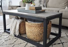a diy coffee table in a living room