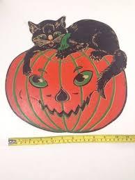 vintage halloween black cat. Exellent Cat Vintage Halloween Black Cat U0026 Pumpkin JOL Jack O Lantern Embossed Diecut On I