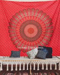 red fl indian mandala dorm decor tapestry wall hanging art royalfurnish com