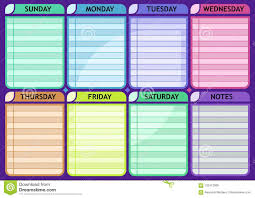 Blank Schedule Weekly Schedule Blank Routine Planner Stock Vector