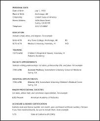 Physician Curriculum Vitae Template Curriculum Vitae Template