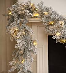 Lighted Decorated Garland Frosted Grandis Fir Lighted Garland Plowhearth