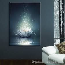 2018 flower led wallpaper chinese painting white lotus on the water led canvas print wall art stickers led christmas canvas wall arts from happyfamilyalike  on lotus flower canvas wall art with 2018 flower led wallpaper chinese painting white lotus on the water