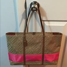 Coach Signature Stripe Large Lozenge Tote Bag