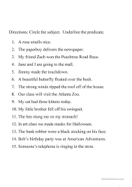 Subject Predicate Worksheet Free Worksheets Library | Download and ...
