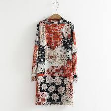 2019 Print <b>Summer Dress Women Stand</b> Collar Little Flowers Floral ...