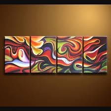 >hand painted 4 pieces modern abstract painting wall art artwork images