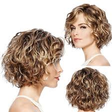 women natural short parting bangs curly