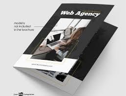 2 Folded Brochure Template Web Agency Bi Fold Free Brochure Template Mockup Free