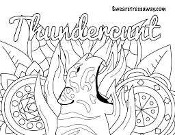 Thundercunt Swear Word Coloring Page Adult Coloring Page