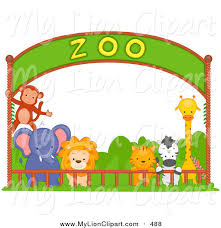 group of zoo animals clipart. Clipart Of Group Zoo Animals Under Banner Inside
