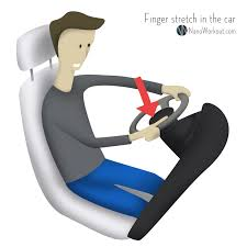 ilration of man stretching hands while driving