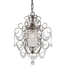 minka lavery 3121 333 1 light crystal mini chandelier in westport silver with glass shade