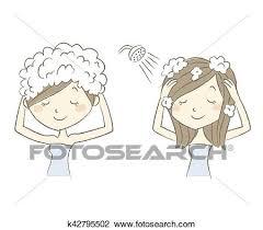 washing hair clipart. Delighful Washing Clip Art  Woman Washing Her Hair With Shampoo Fotosearch Search Clipart  Illustration In Washing Hair Clipart G