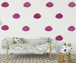 smiley gold glitter cloud wall stickers